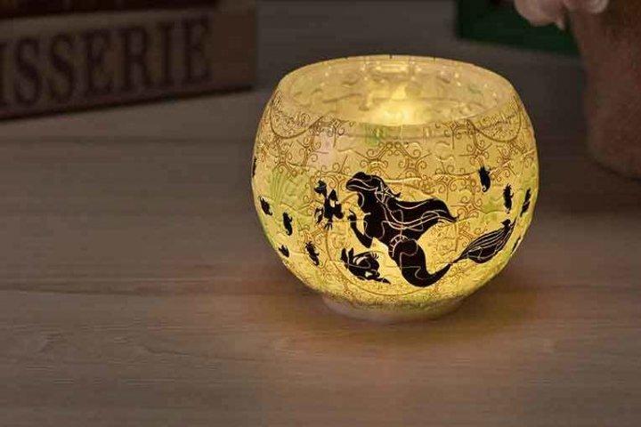 完成後に優しい光を灯せる球体パズル「ランプシェードパズル シルエット ‐アリエル‐」の開発秘話を大特集 株式会社やのまん