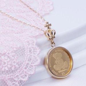 K18 王冠枠純金金貨ネックレス テディベア ネックレス