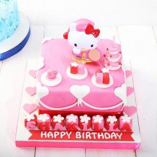 Kue Ulang Tahun model Hello Kitty ukuran 20 x 20 cm (fondant)