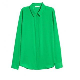H&M Blouse Green Longsleeve Collar (HMB277)