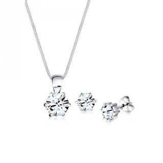 Elli Jewelry Perhiasan Wanita Perak Asli-Silver Set Classic Swarovski