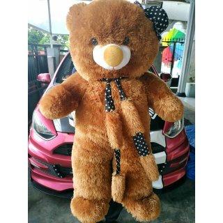 Boneka Jumbo Bear Topi Syal