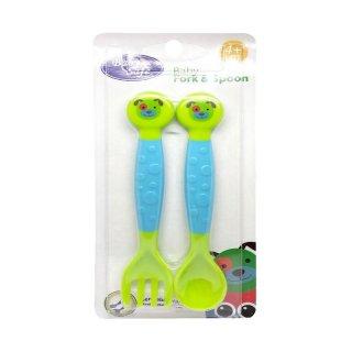 Sendok Garpu Makan Bayi Baby Safe SK003 Spoon & Fork Green Blue