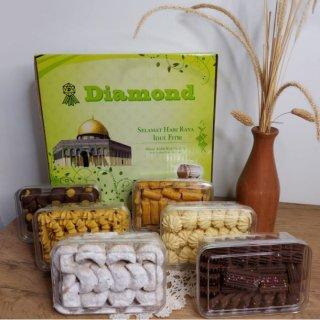 Paket Kue Lebaran Diamond Cookies mix isi 6 toples
