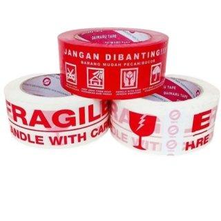 Lakban Daimaru Fragile Putih Merah