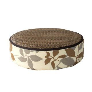 Hagihara Bantal Kursi/Lantai Bulat Motif Bunga Cokelat - Kecil 12 cm