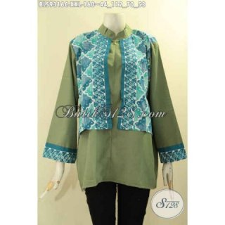 Baju Atasan Batik Wanita Gemuk Trendi Model Cardigan