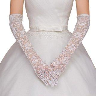 Sarung Tangan Siku Full Jari Bahan Lace Untuk Aksesoris Pernikahan Prom