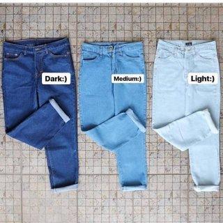 Celana Wanita Plain Boyfriend Jeans