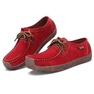 Sepatu Loafers Wanita Bahan Kulit Sapi Suede Flat Fleksibel