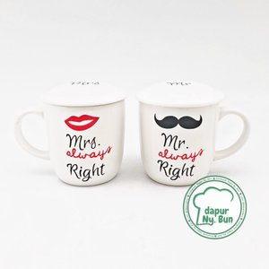Mug Couple + Tutup Mrs. Always Right / Mug Keramik