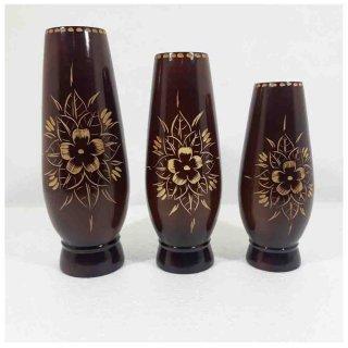 Vas Bunga Hiasan Meja Dekorasi Ruangan Kerajinan Kayu Jati