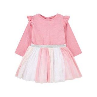 Mothercare Pink Glitter Stripe Frill Twofer Dress