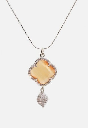 Torenda Four Leaf Clover Gold Plated Pendant Hitam Kalung Wanita