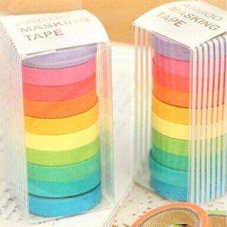 Washi Tape set 10pcs Masking Tape Selotip Jepang Warna Warni Pelangi