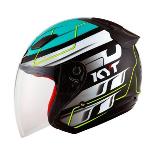 KYT DJ Maru Half Face #13 Black/Blues Green/Yel Fluo