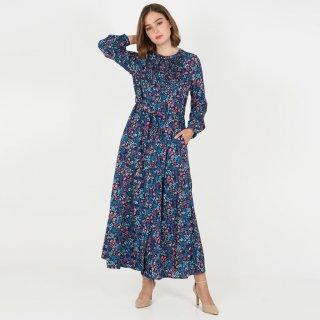 LeRosetz - Dress Wanita   Gamis Print Bunga Navy Colorfull