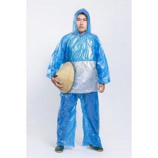 Jas Hujan Setelan Plastik Tebu (Jaket + Celana) Kombinasi