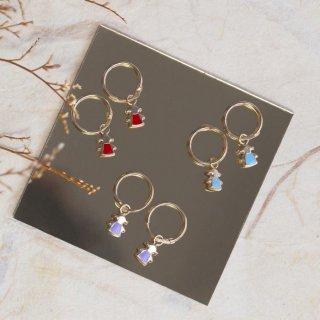 Keykana Baby Jewelry 14K Real Italy Gold - Anting Bulat Girl Enamel