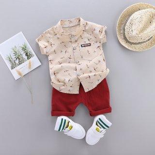 KIKIGIRLS Set 2pcs Kemeja Anak Bajubayi Lakilaki Setelan Pakaian Bunga Putih QQQ0173