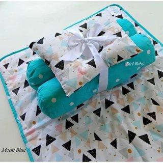 Set Matras Kasur Bayi Dan Bantal Guling Bayi Perlengkapan Bayi - Moon Blue