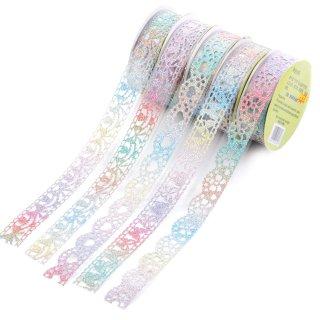 Decorative Glitter Lace Washi Tape Colorful Sticky Adhesive Masking Tape DIY Craft Decorations Scrapbooking Decorating Stickers