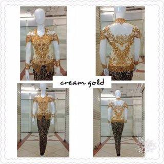 Atasan Kebaya Pesta Kerah Sunda Krem Gold