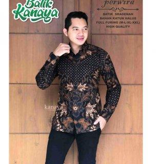 PERWIRA Kemeja Batik Pria Full Furing Bahan Katun Sragenan