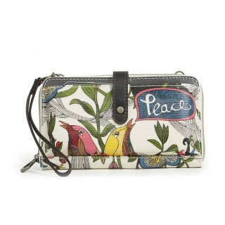 Sakroots Large Smartphone Crossbody Wallet White Peace Print