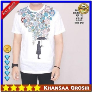 Baju Kaos Cowok Oblong Putih Motif Shelter Lengan Pendek Casual Trendy