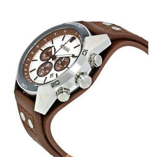 Fossil CH2565 Coachman Chronograph Silver Dial Brown Leather Strap
