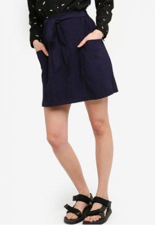 Something Borrowed Side Pockets Waist Tie Mini Skirt