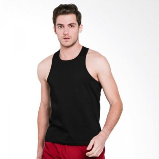 VM Polos Kaos Singlet Pria - Hitam (Jumbo Big Size)