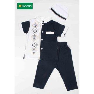 BANANA Setelan Baju Koko Bayi Laki - Laki Bordir samping Tangan Pendek