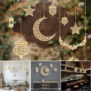 Wooden Ramadan Hanging Pendant Ornament Eid Ramadan Mubarak Decorations Hanging Plaque Sign for Home