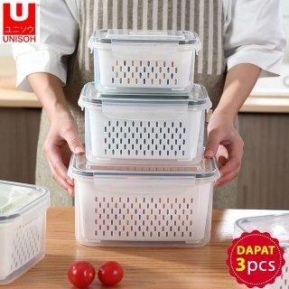 UNISOH KOTAK KONTAINER BUAH SAYUR KULKAS STORAGE FOOD BOX 3 IN 1