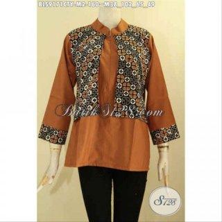 Baju Batik Blouse Keren Buatan Solo Kombinasi Kain Polos Toyobo