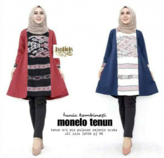 Baju Batik Wanita Tunik Kombinasi Monelo Tenun Motif Ethnik