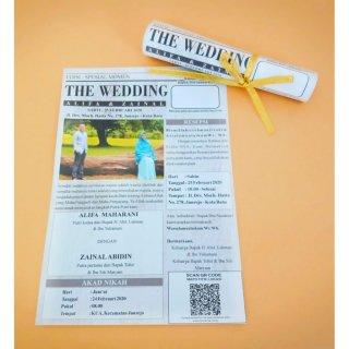 Undangan Pernikahan Unik Model Koran Gulung + Pita Emas
