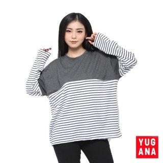 BL - G3E - SELLY Baju Kaos Kombinasi Jumbo XXL T-Shirt Lengan Panjang