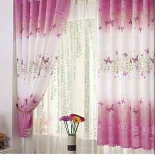AM112 Tirai Pintu dan Jendela Gorden Polyester Pink Butterfly