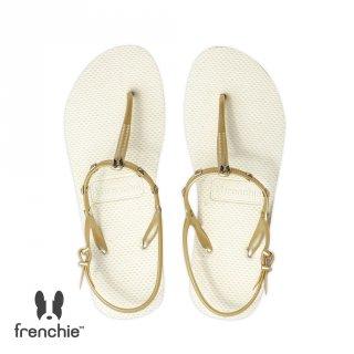 Frenchie Sandal Jepit Wanita Strappy Rockstud Beige /Gold SFR01