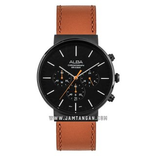 Alba AT3F13X1 Man Black Dial Brown Leather Strap