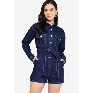 ZALORA Long Sleeves Playsuit with Self Tie Navy