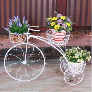 Rak Besi Pot Bunga Model Sepeda Putih