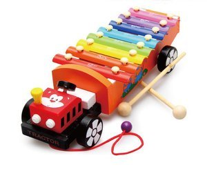 ME090 Mainan Kayu Alat Musik Pukul Kolintang Xylophone Tarik Truck