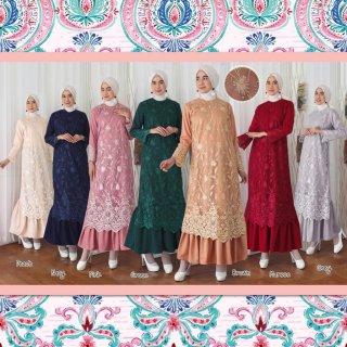 Gamis Pramitha Brukat Tille Maxi Dress Gamis Pesta Kebaya Kondangan Seragam Wisuda