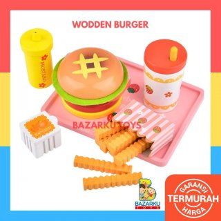 Wodden Burger Magnet Mainan Kayu