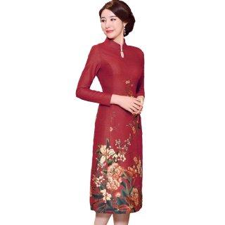 Baju Ibu Pengantin Gaun Pengantin Cheongsam Wanita Setengah Baya Musim Semi