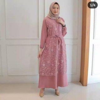 Gamis Brukat Swan Kebaya Tile Maxy Dress Busui Wanita Muslim Brokat Moscrepe